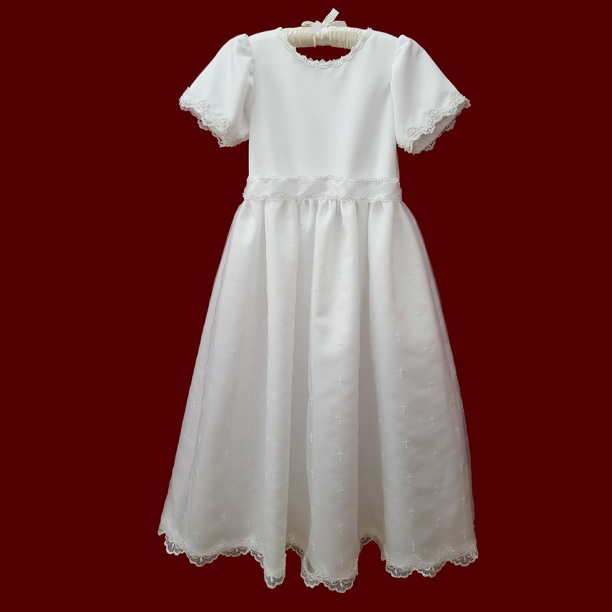 Allover Simple Cross Embroidered Organza Communion Dress