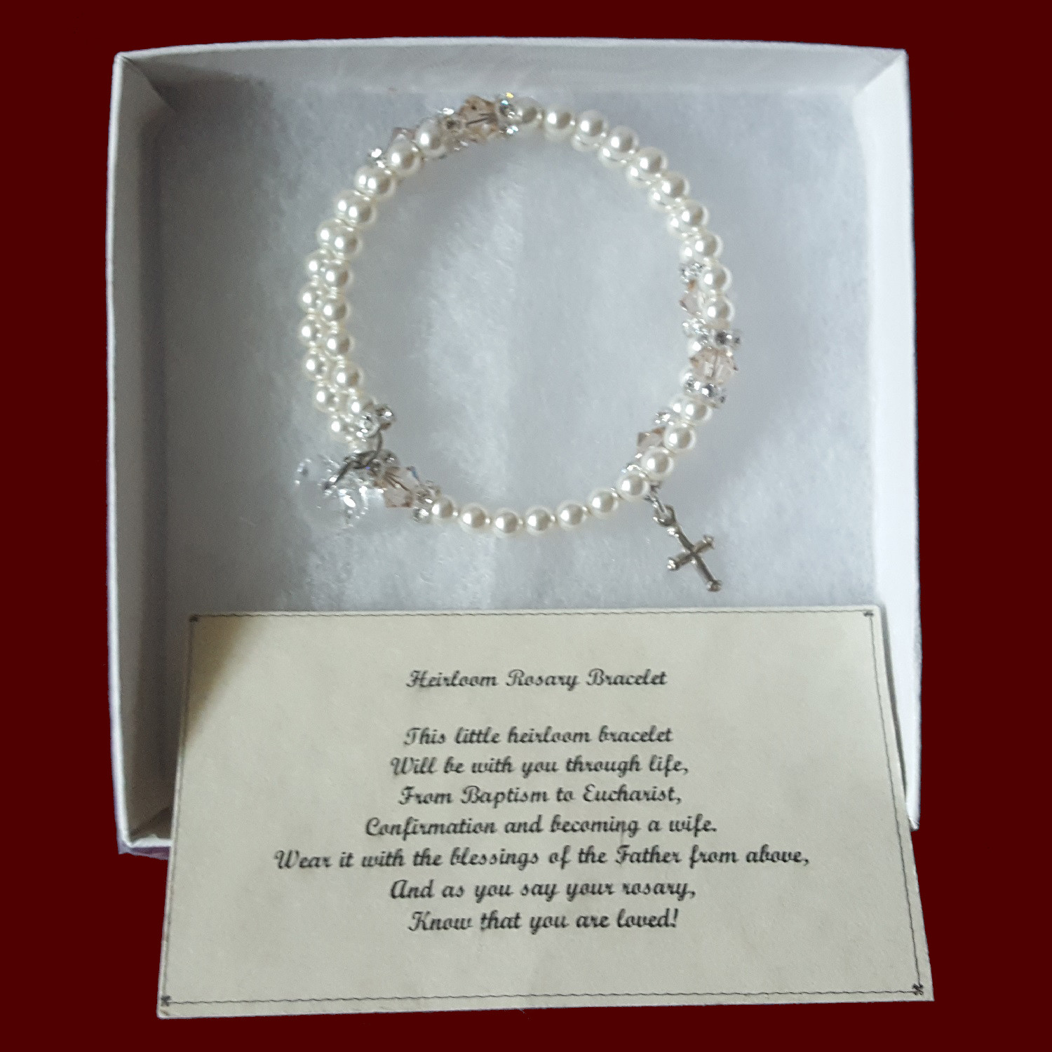 Ivory Swarovski Crystal & Pearl Wrap Rosary Bracelet With Optional Irish Charms