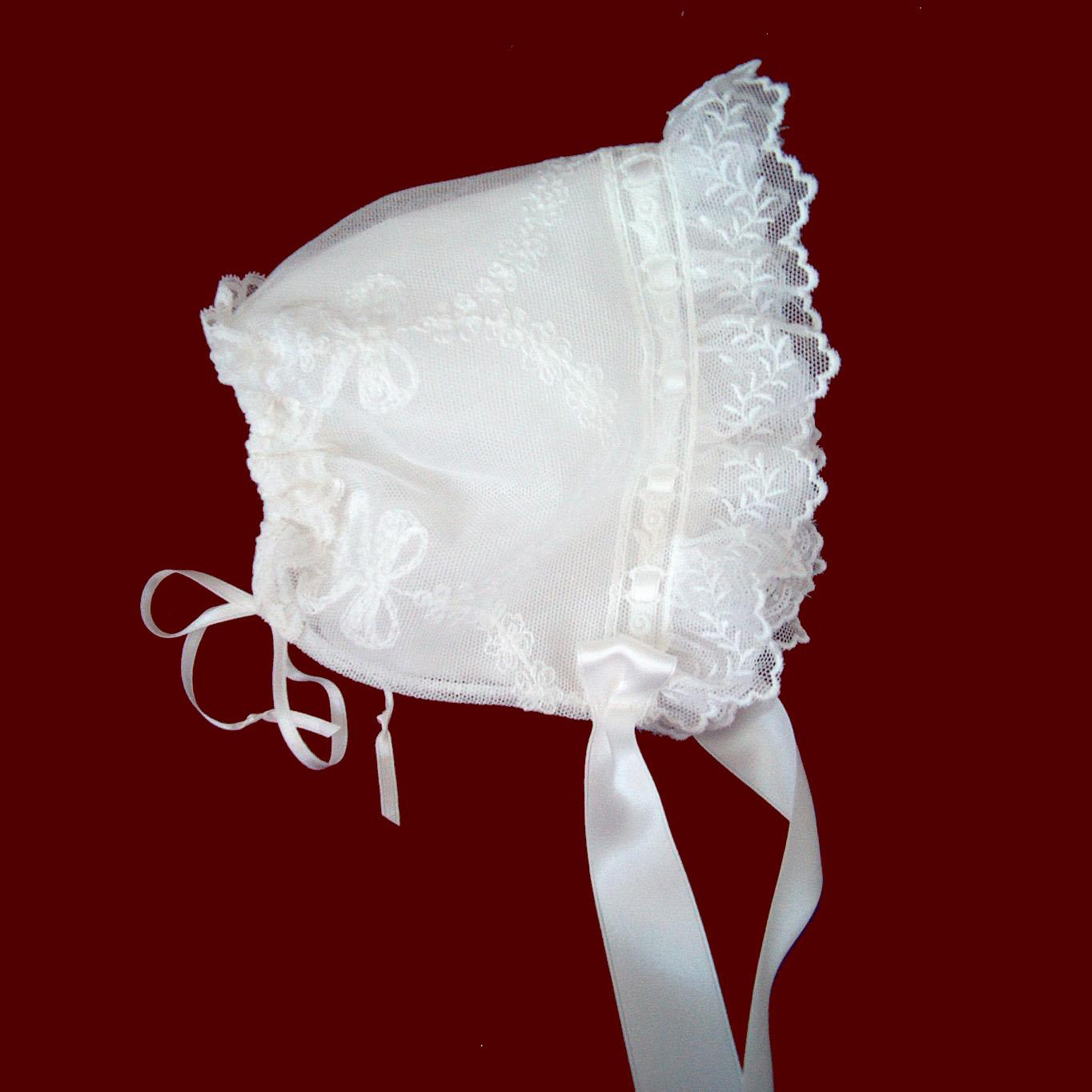 English Netting Bonnet with Removable Cotton Liner