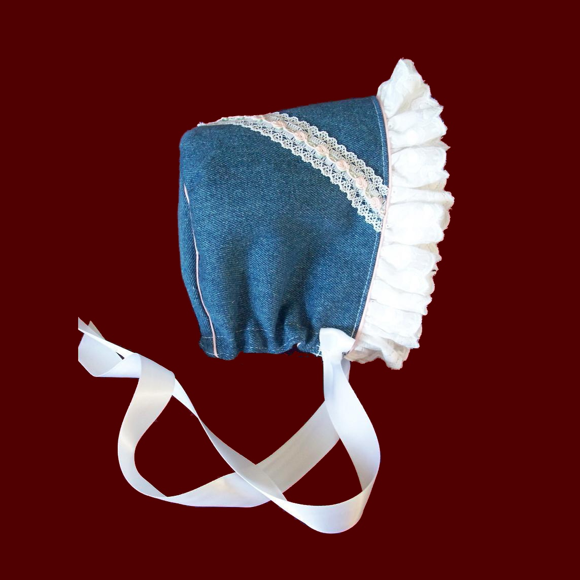 Denim Girl Bonnet With Ruffle