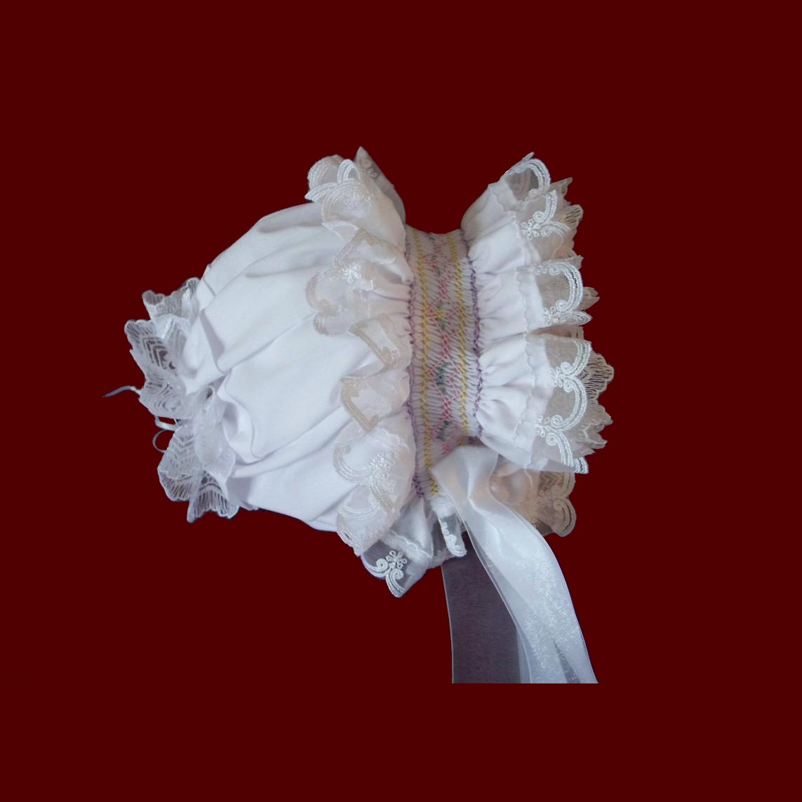 Ruffled Organza Hand Smocked Bonnet With Optional Liner