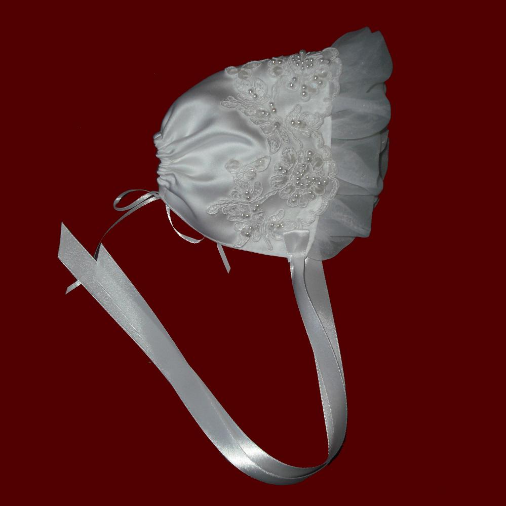 Satin With Beaded Trim & Organza Ruffle Bonnet