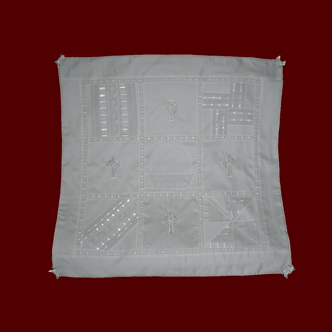 Heirloom Quilt With Celtic Crosses, Pale Blue Accents