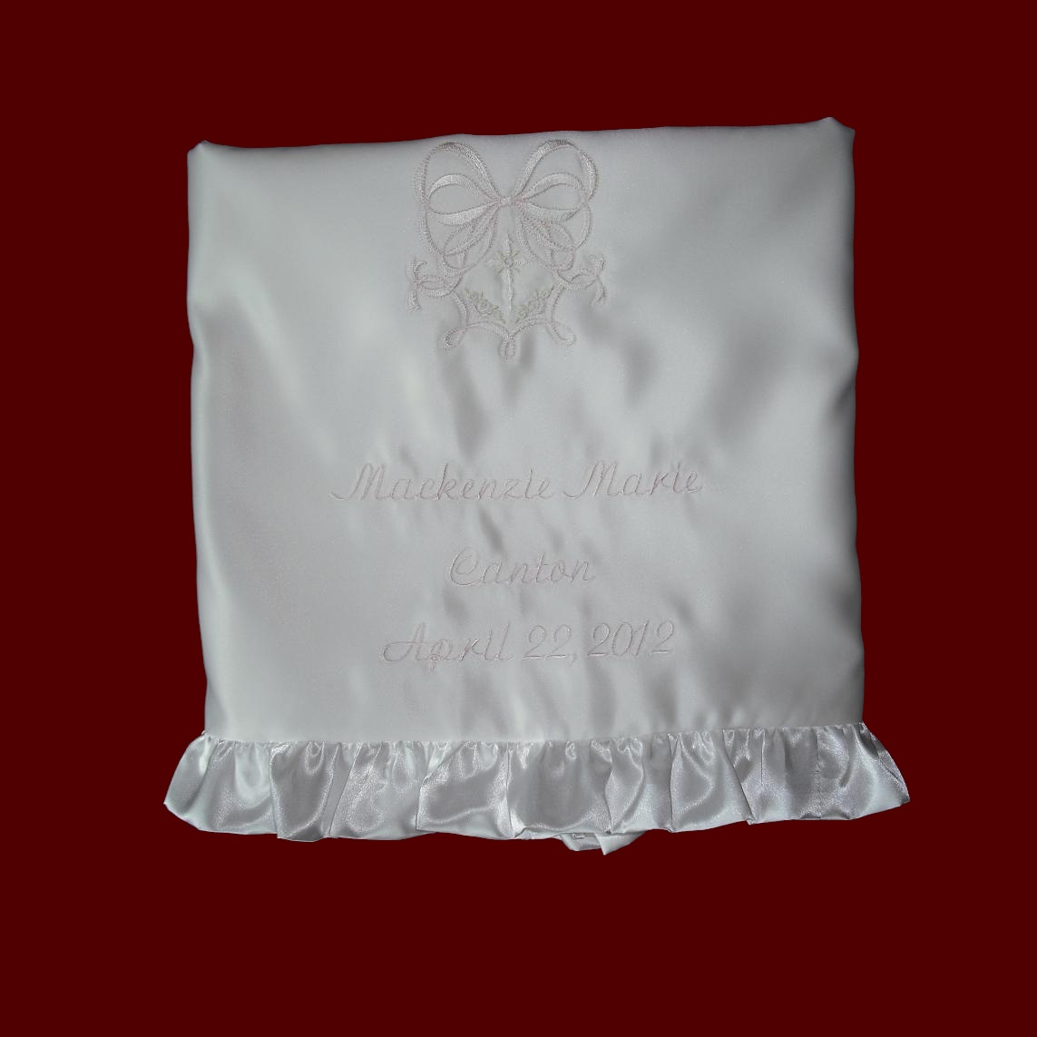 Click to Enlarge Picture - Personalized Christening Blanket