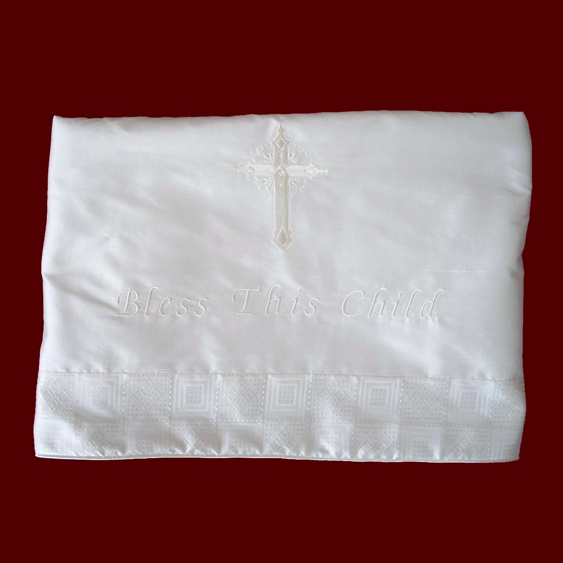 Ivory Silk Christening Blanket With Saying
