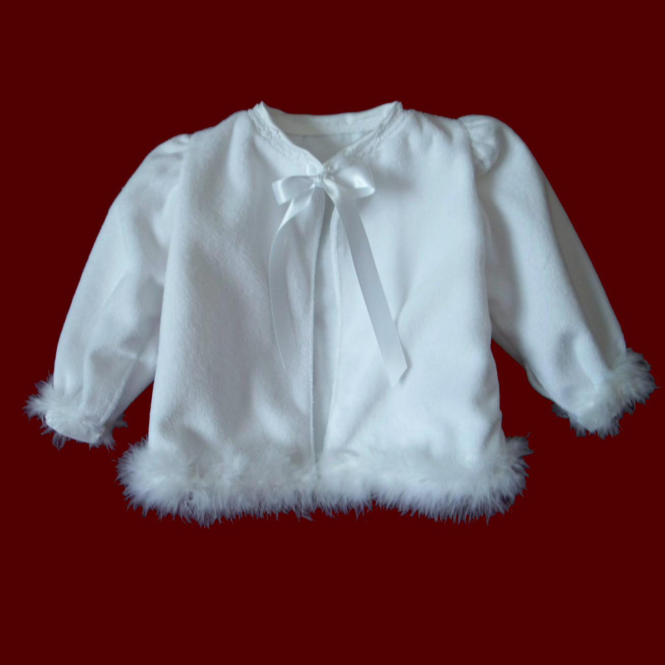 Minky Christening Jacket With Boa & Optional Bonnet