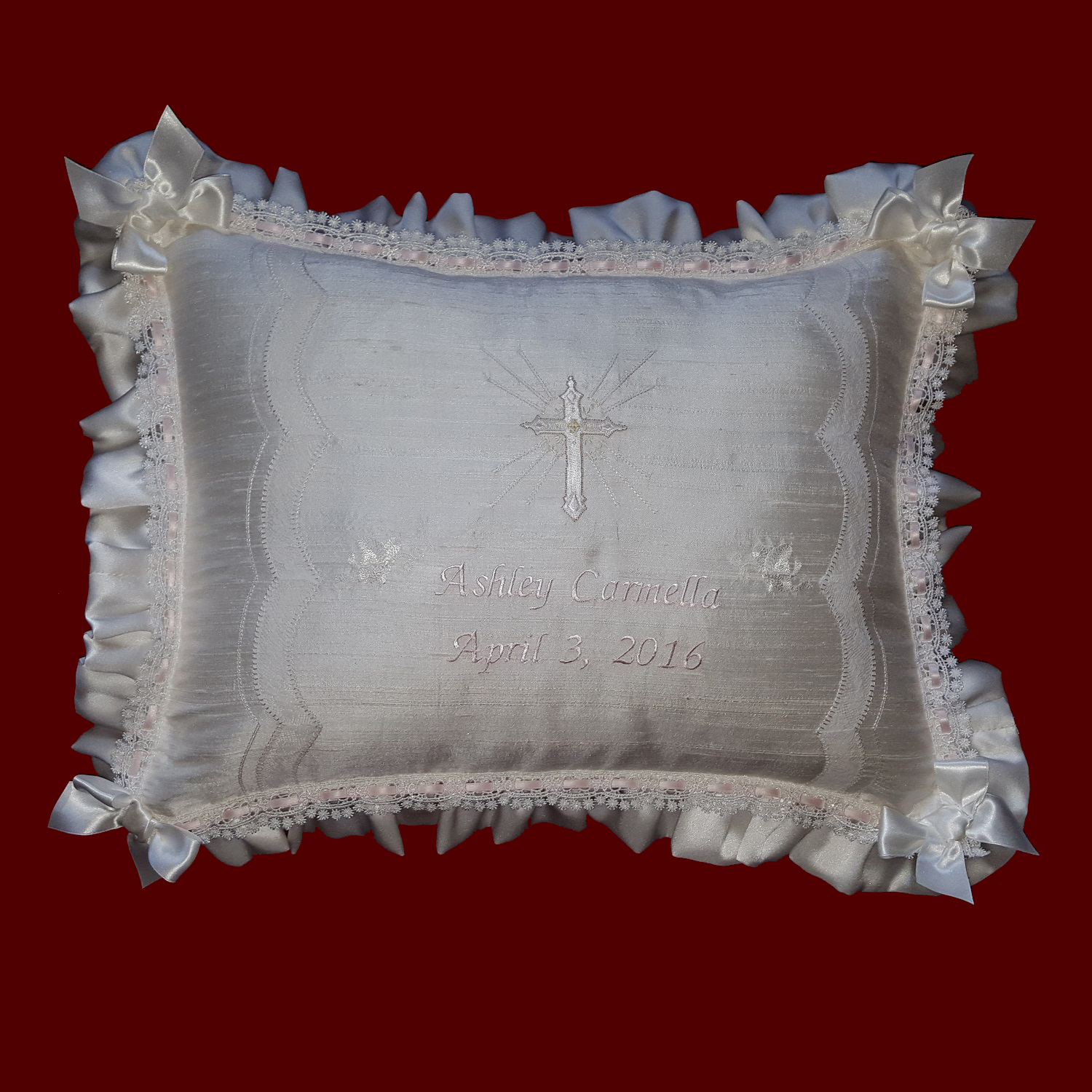 Personalized Christening Pillow With French Lace Scallops & Venice Beading