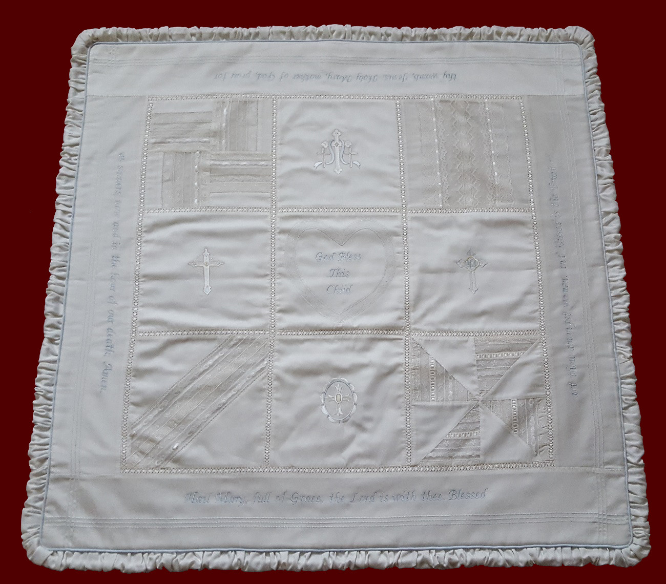 Boys Heirloom Christening Quilt with Embroidered Hail Mary & Crosses