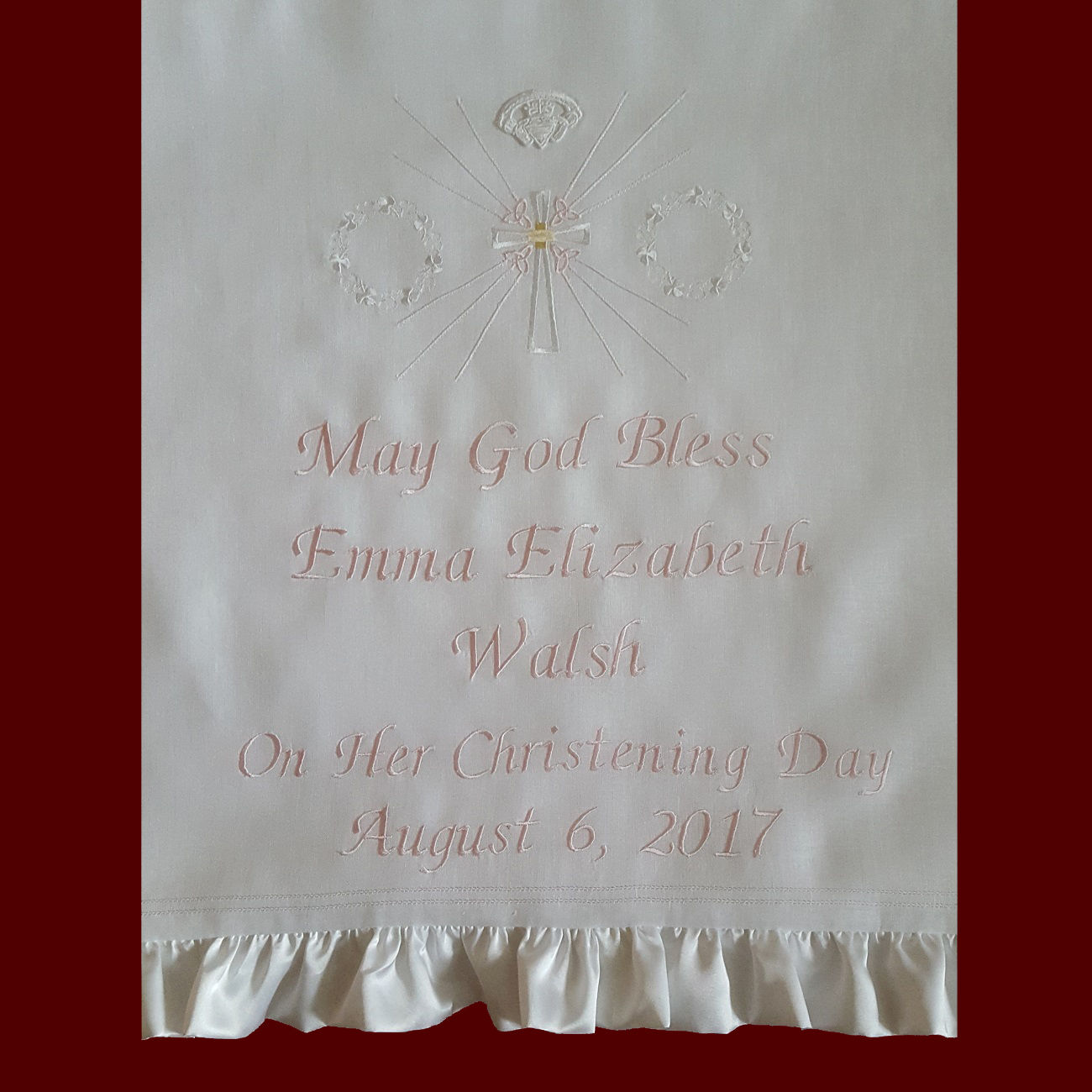 May God Bless Personalized Christening Blanket With Optional Irish Accents