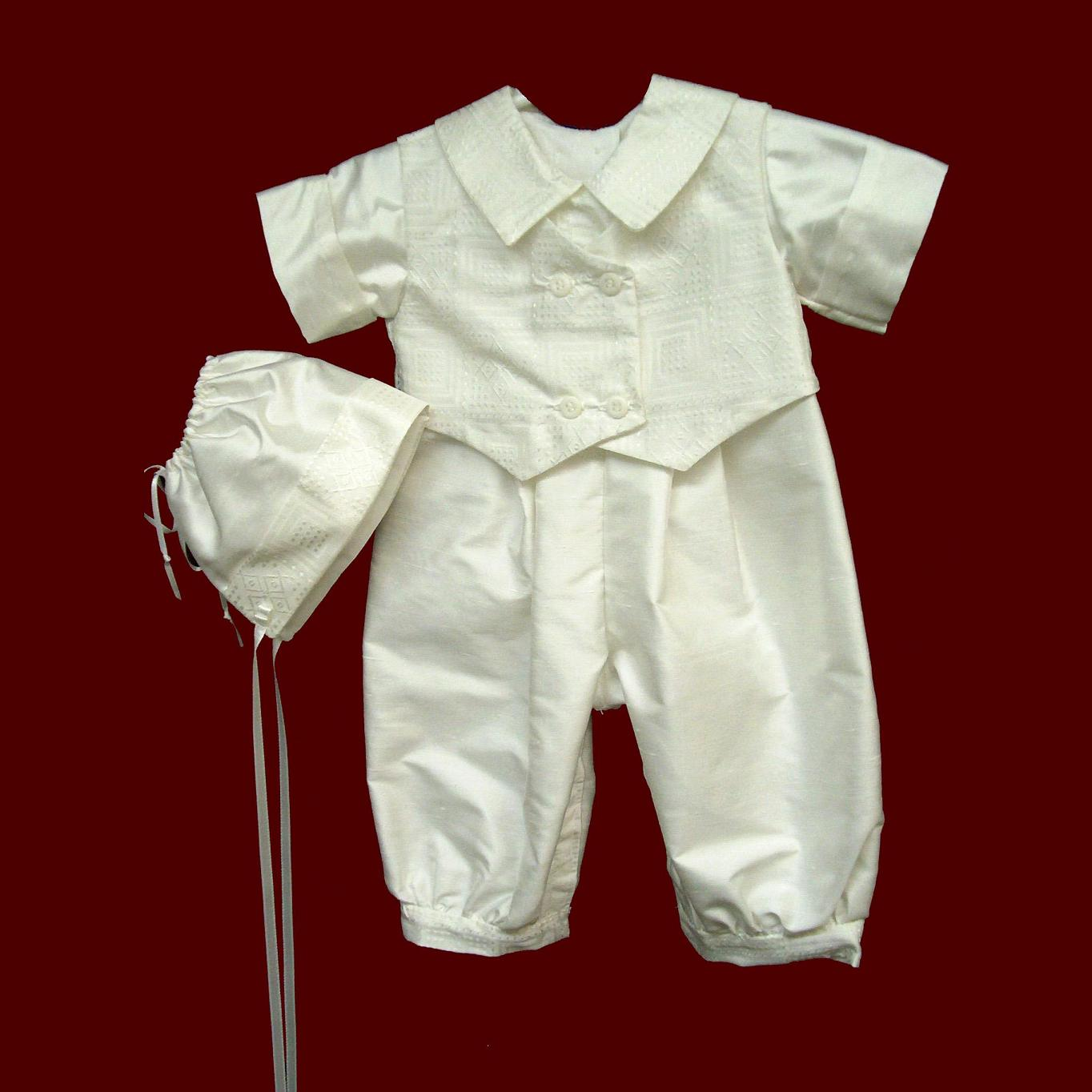 Boys Silk Christening Romper with Vest