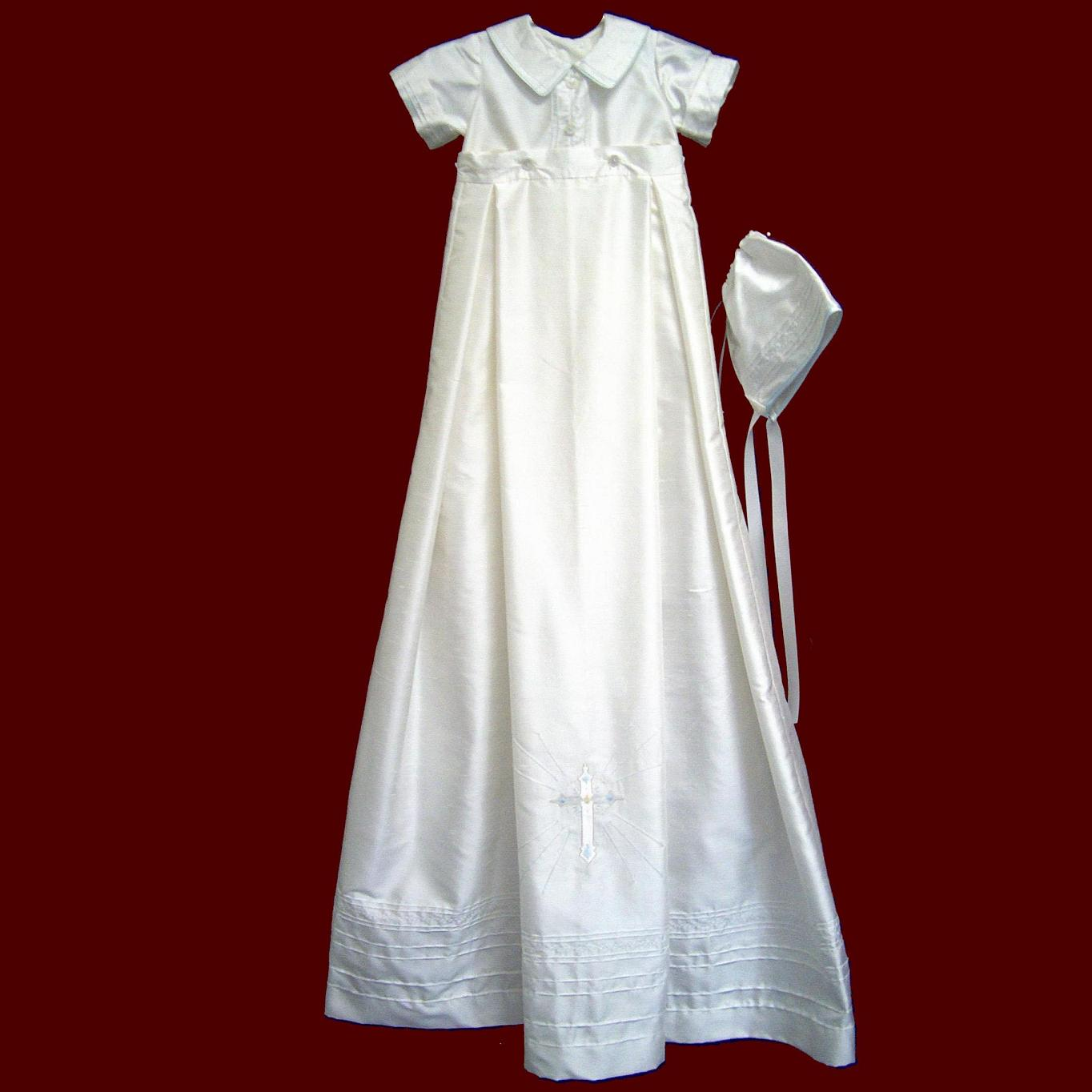 Boys Silk Christening Romper With Detachable Gown and Accessories
