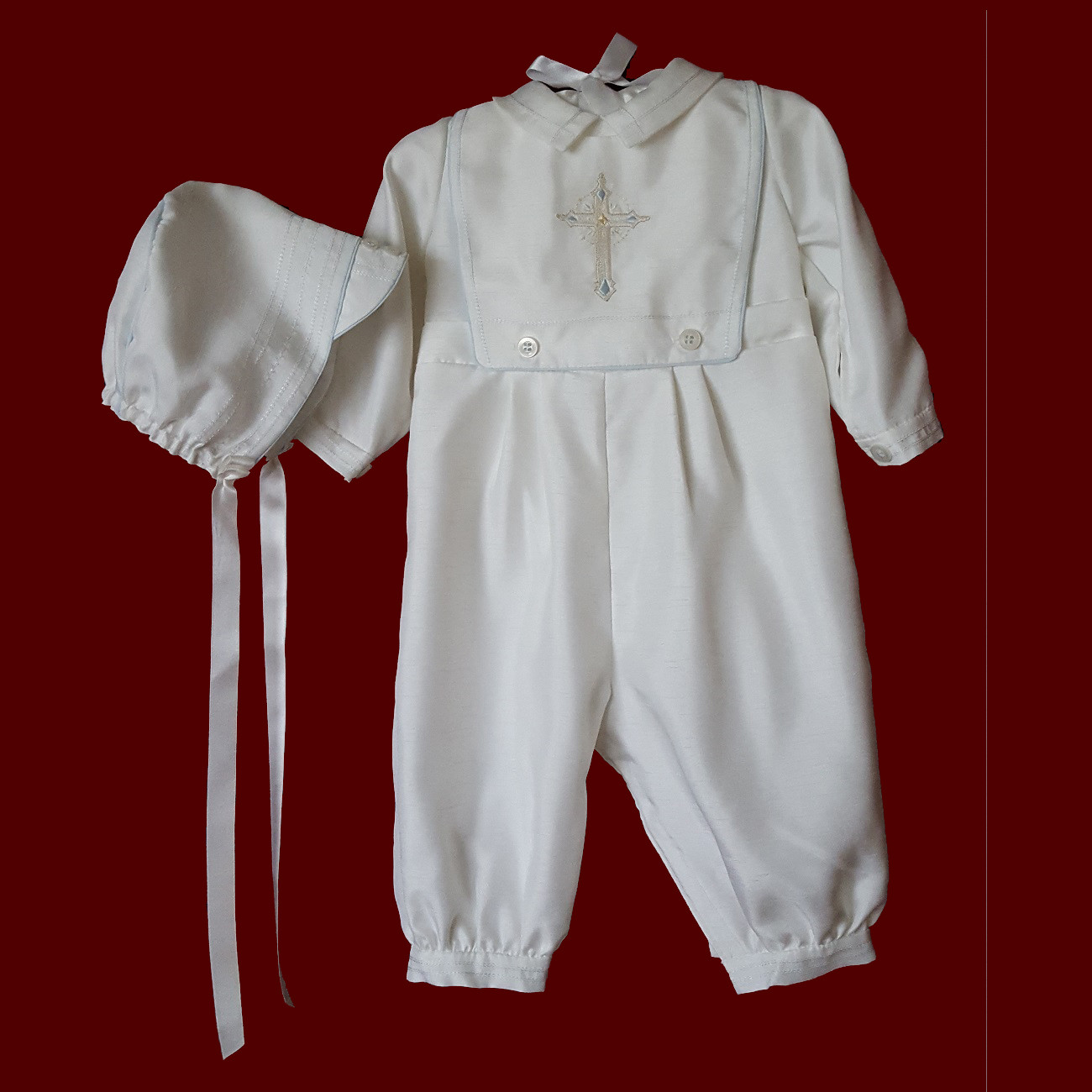 Boys Christening Romper with Detachable Embroidered Bib and Hat