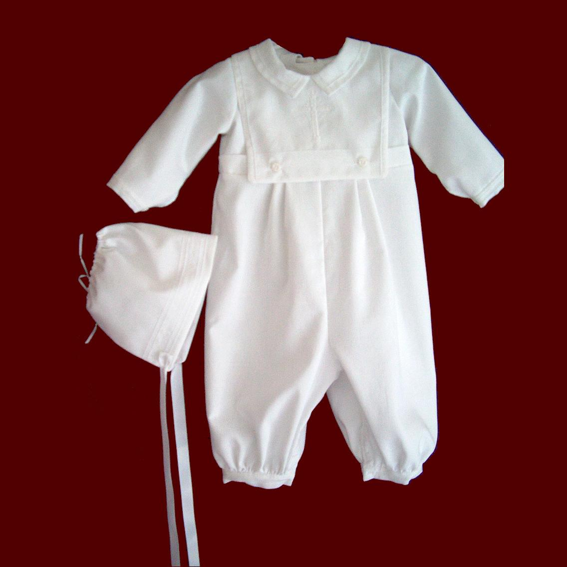 Boys Christening Romper - Smocked Treasures