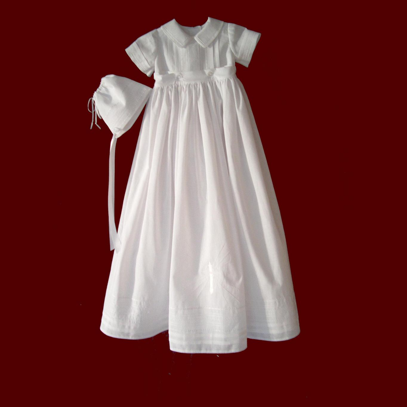 Boys Linen Batiste Christening Romper with Detachable Gown & Hat