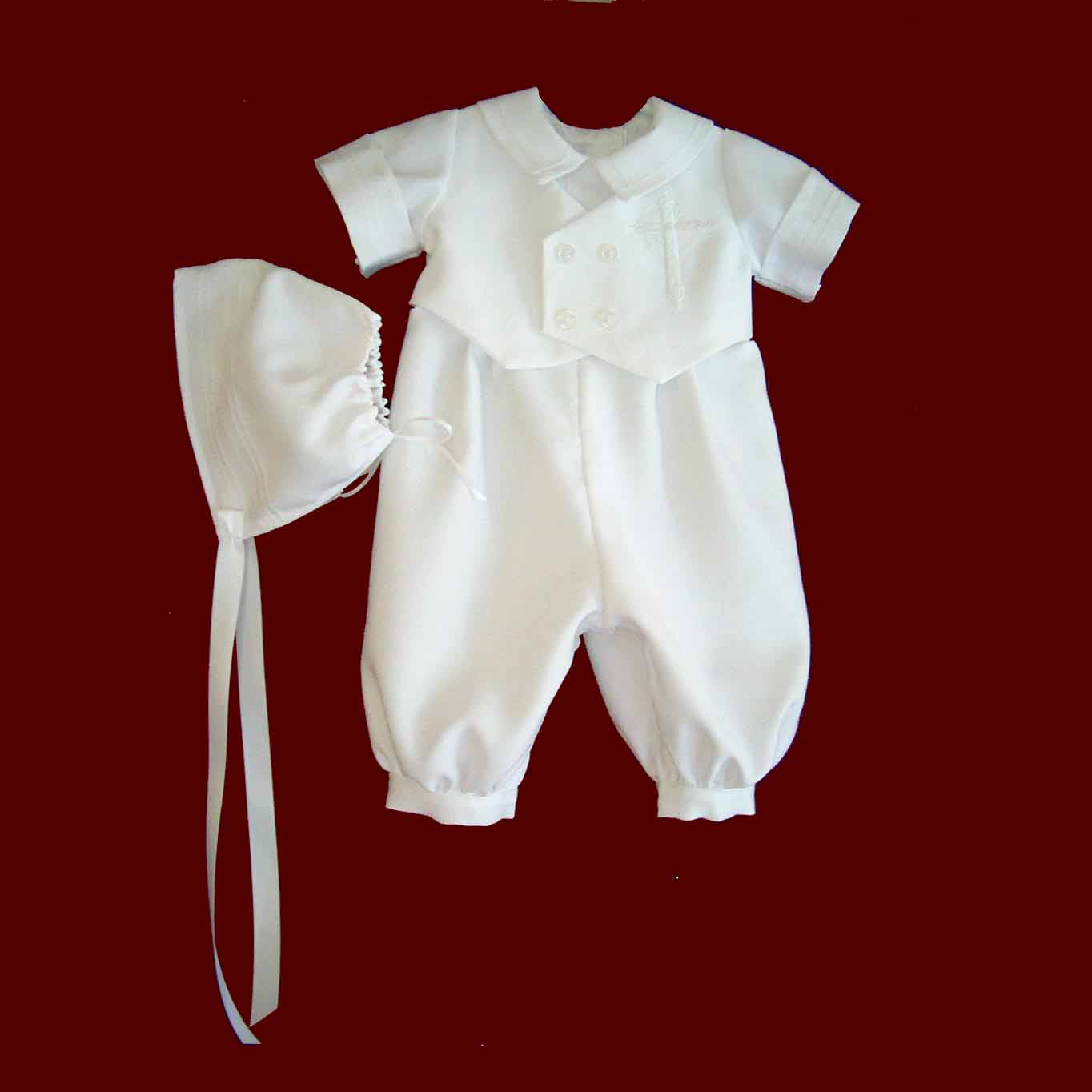 Shantung With All White Single Cross With Diamonds, Short Sleeve, Long Leg