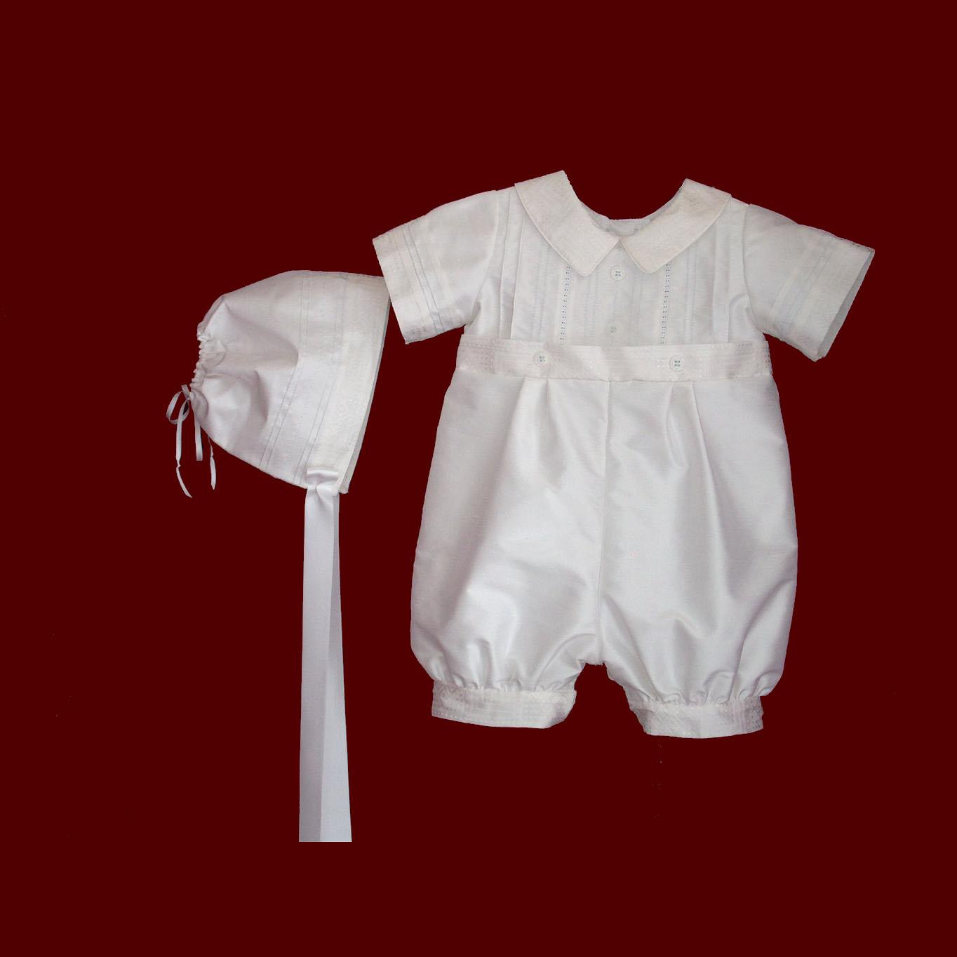 Boys Silk Christening Romper with Hat