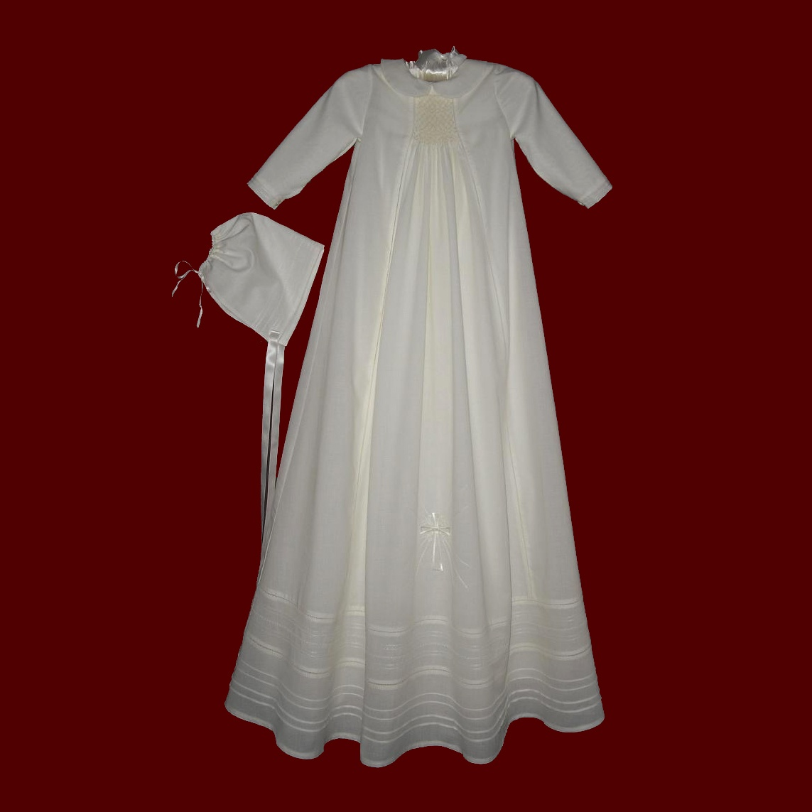 All Ivory Cotton Batiste Boys Smocked Gown, Long Sleeve & Gown Length