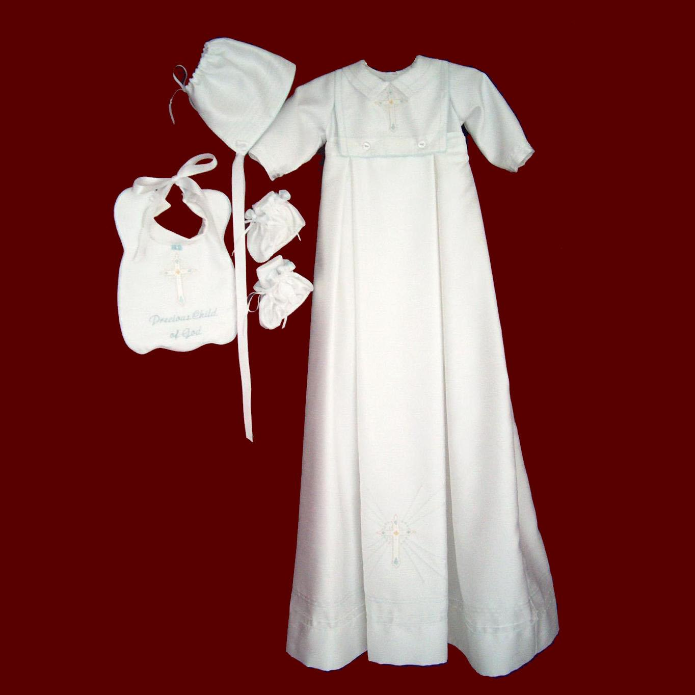 Shantung Boy Christening Romper with Detachable Gown and Bib & Accessories