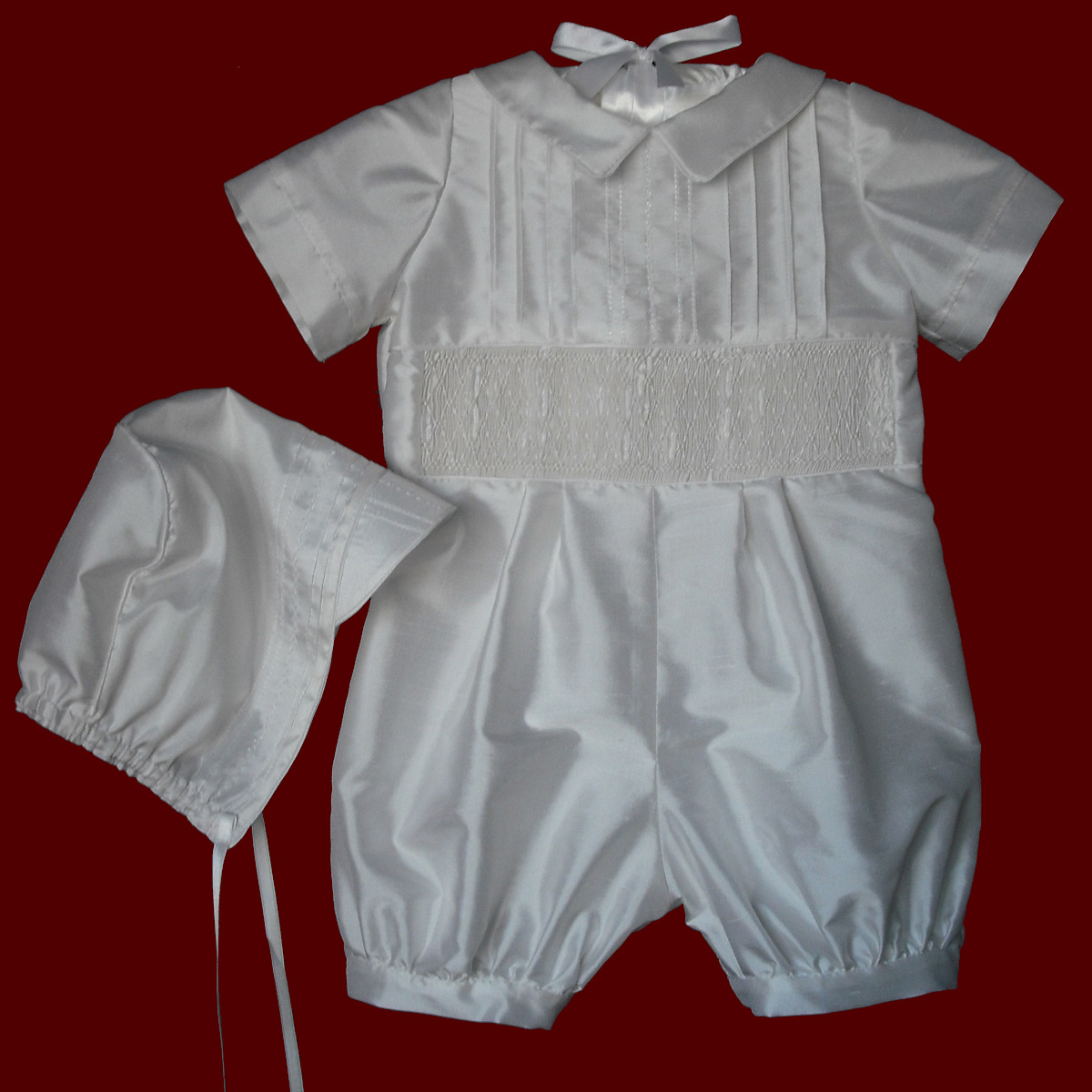 acd44b47d873 Click to Enlarge   View Additional Pictures. Boys Christening Romper With  Hand Smocked Insert   Hat. All White Cotton ...
