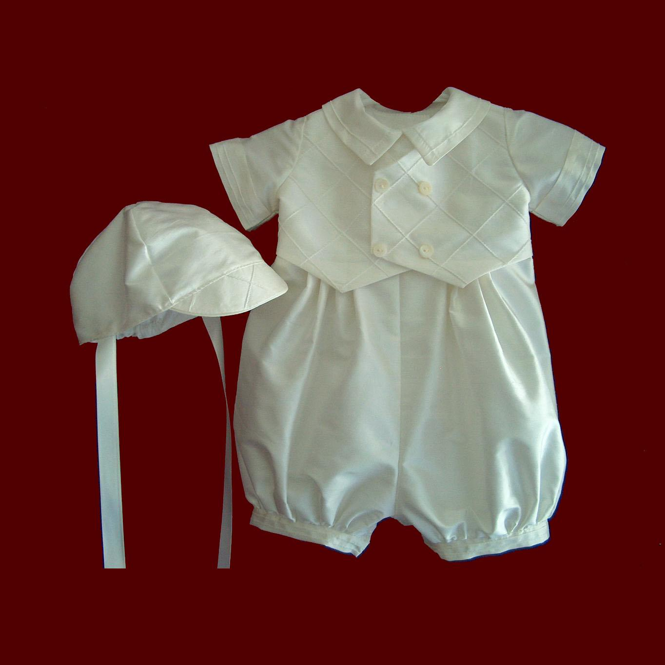 Silk Boys Romper with Pintucked Vest & Hat