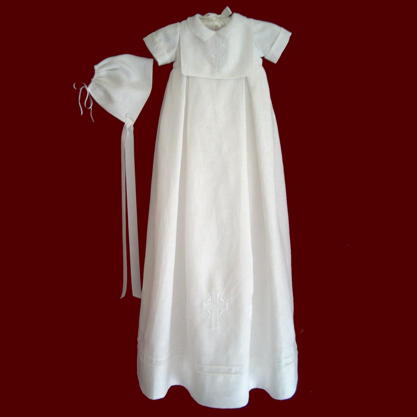 Irish Linen Boys Christening Gown With Detachable Bib & Hat - Irish ...