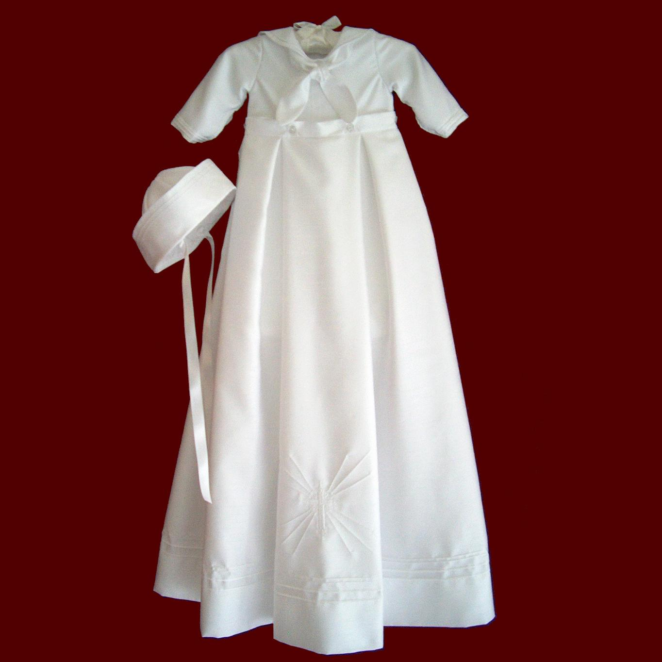Shantung Sailor Christening Romper With Detachable Gown & Hat