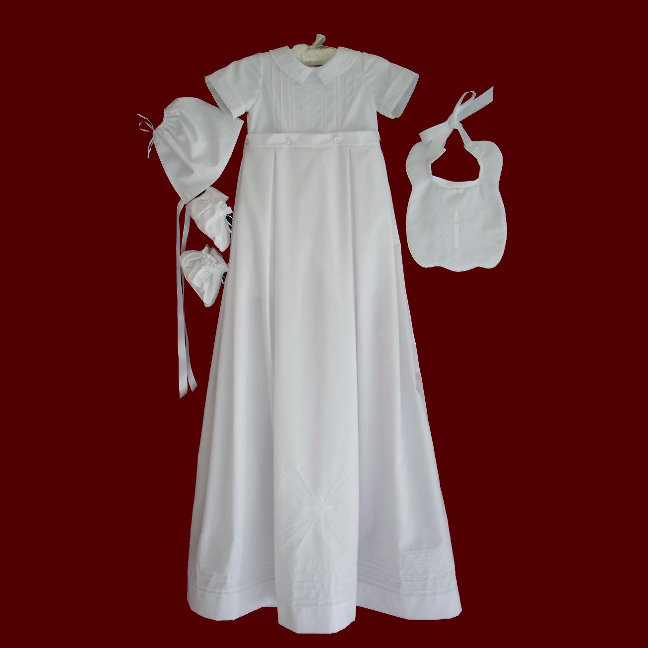 Boys Cotton Christening Romper With Detachable Gown & Accessories