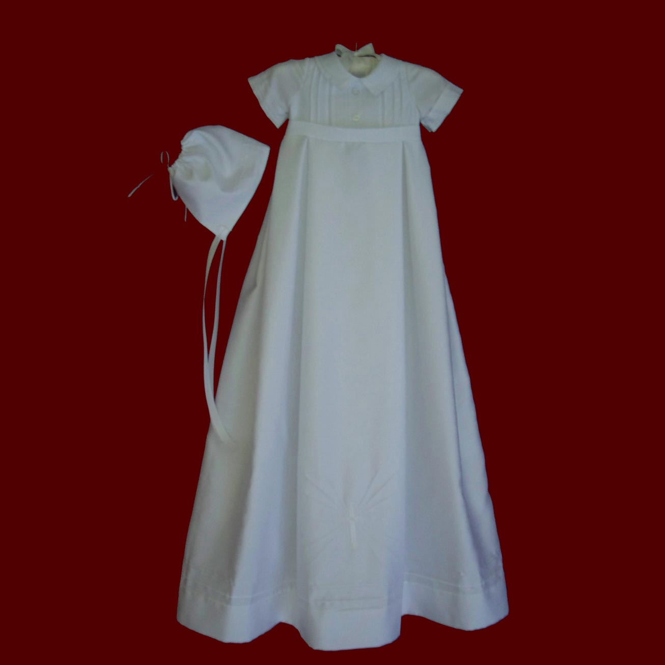 Shantung boy christening gown slip hat boys gowns for Making baptism dress from wedding gown