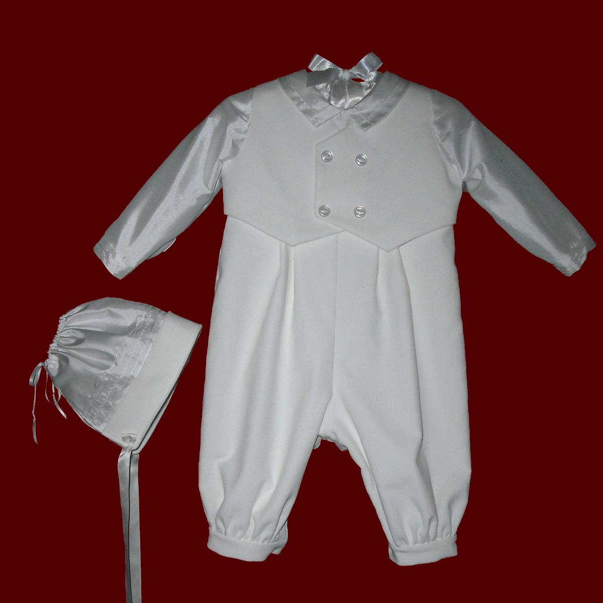 Click to Enlarge Picture - Boys Velveteen & Silk Dupione Christening Romper With Hat