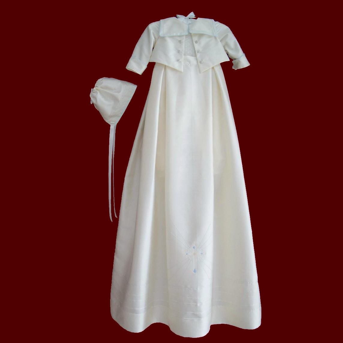 Silk Lord Fauntleroy Style Christening Romper With Detachable Gown