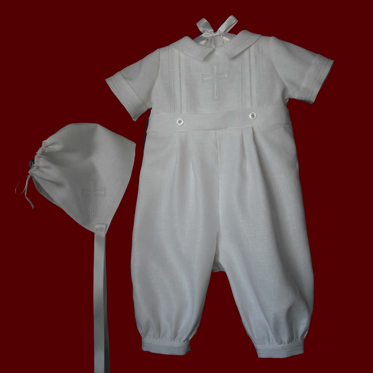 Christening Romper With Embroidered Cross & Hat