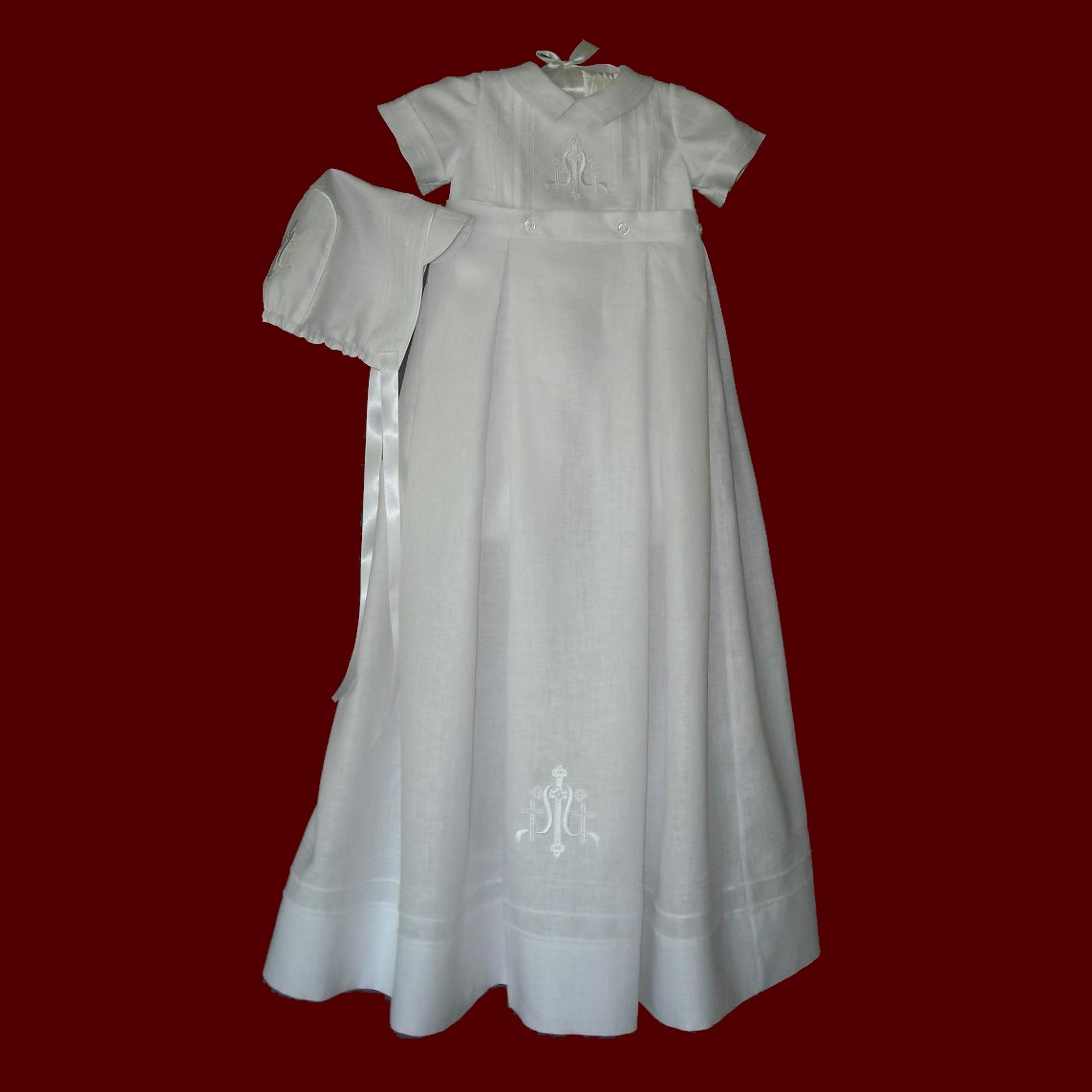 Embroidered Cross Christening Romper & Detachable Gown With Hat