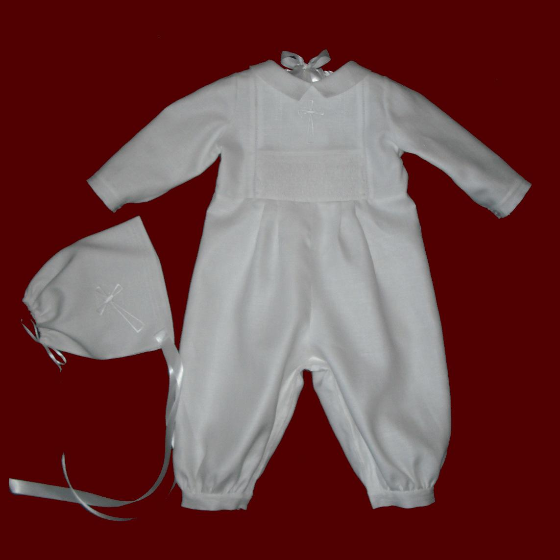 Irish Linen Boys Hand Smocked & Embroidered Cross Christening Romper & Hat