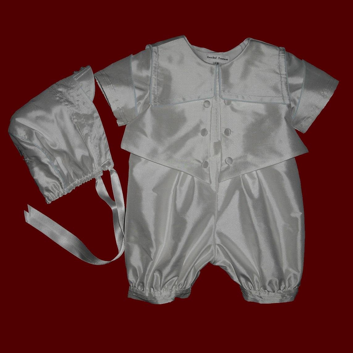 Lord Fauntleroy Style Boys Christening Romper & Hat