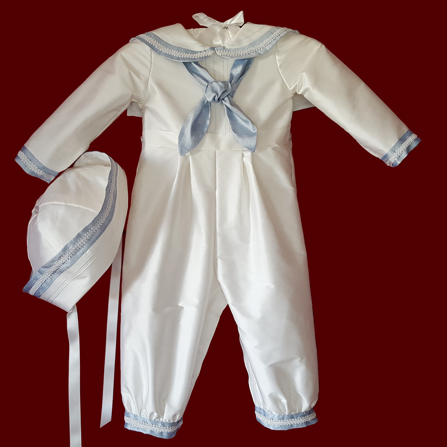Sailor Style Christening Romper With Blue Accents & Braid & Hat