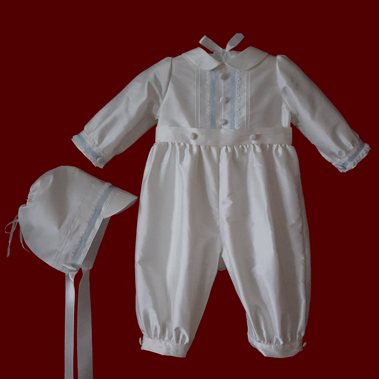 ba1bf8487 Click to Enlarge Picture - Boys Silk Christening Romper With Ribbon and  Tatting & Matching Hat