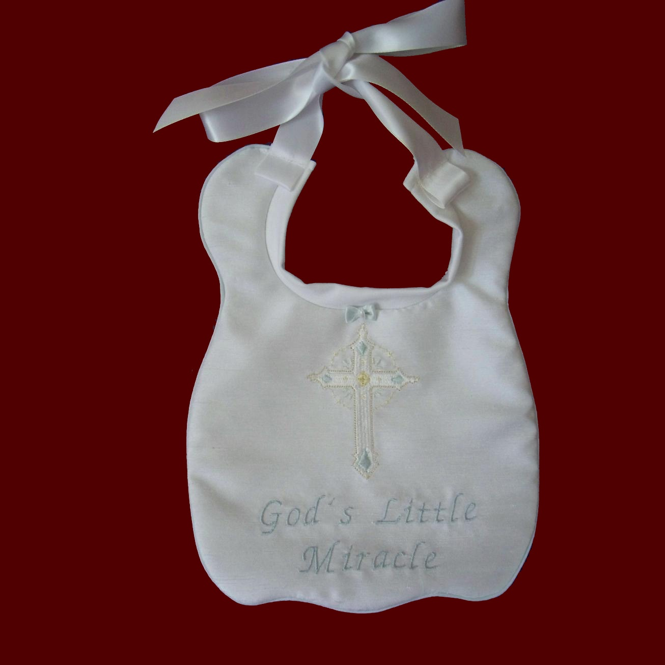 """Gods Little Miracle"" Christening Bib"