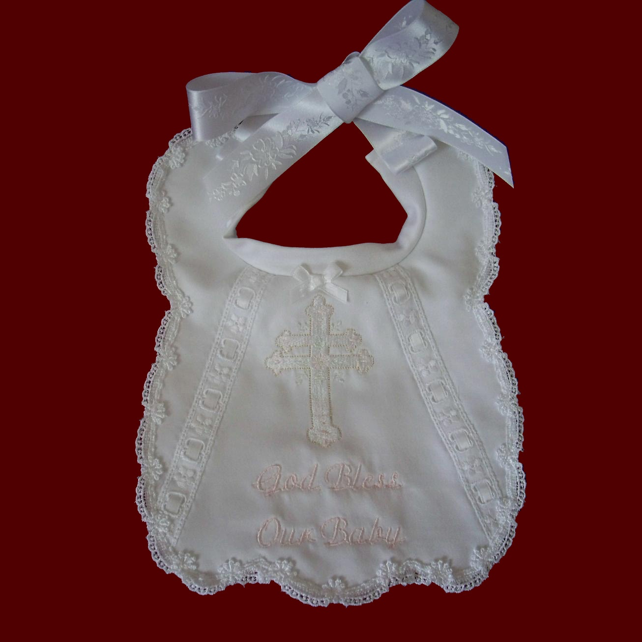 God Bless Our Baby Christening Bib