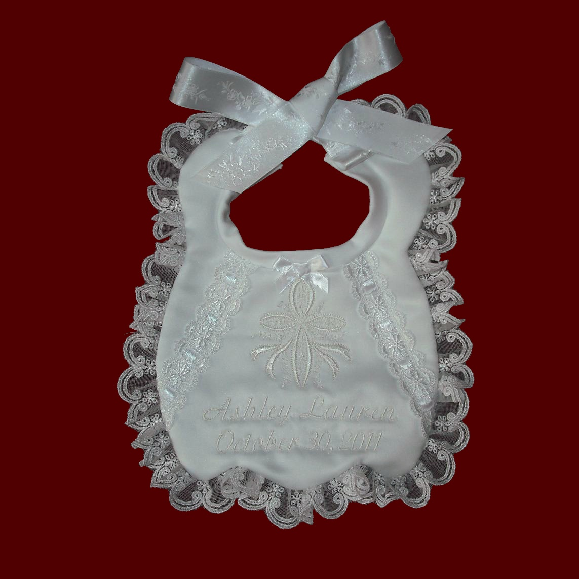Satin Bib With Ribbon Cross With Flowers, All White