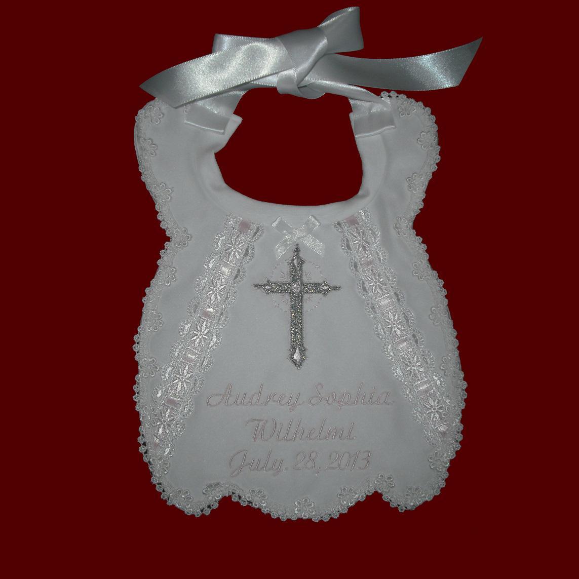 Girls Scalloped Personalized Christening Bib Christening