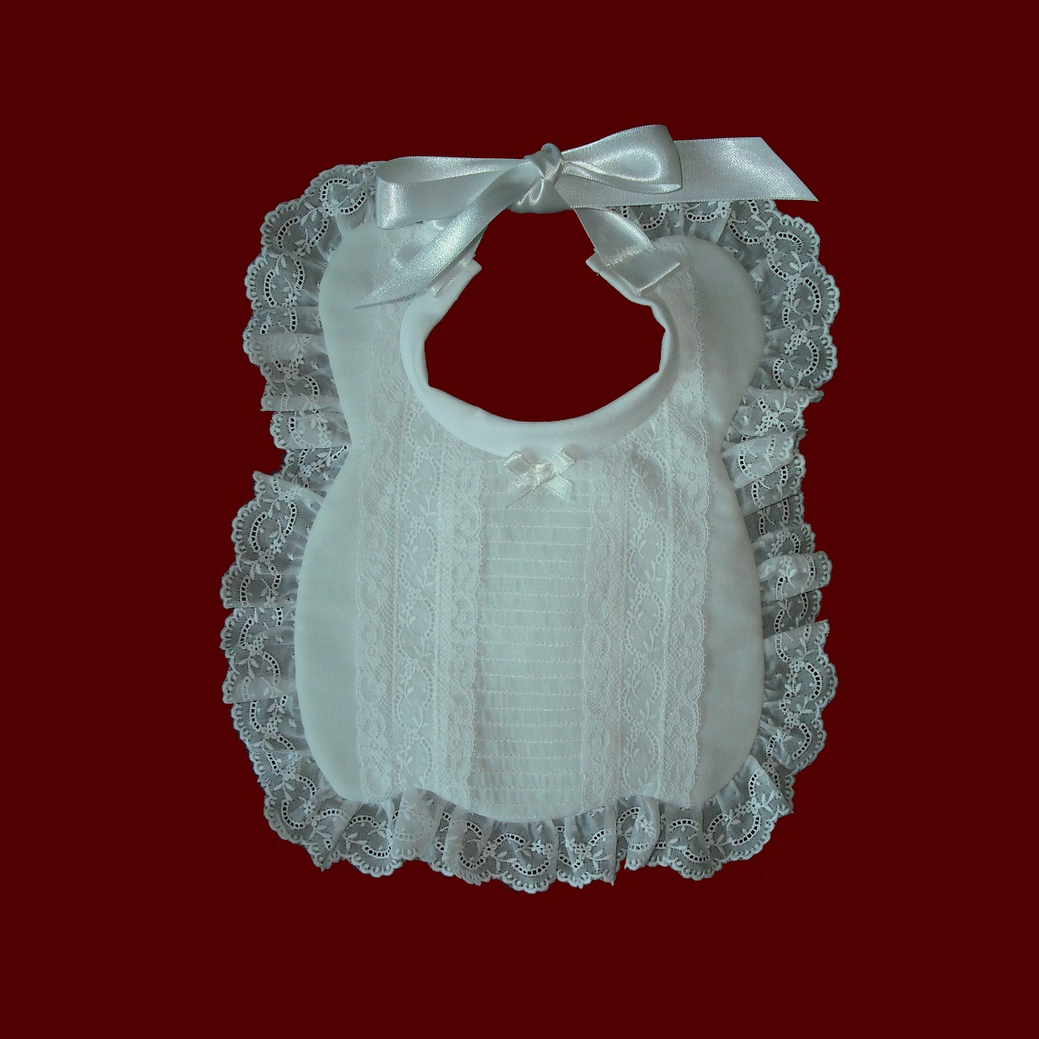 Heirloom Swiss & French Lace Christening Bib