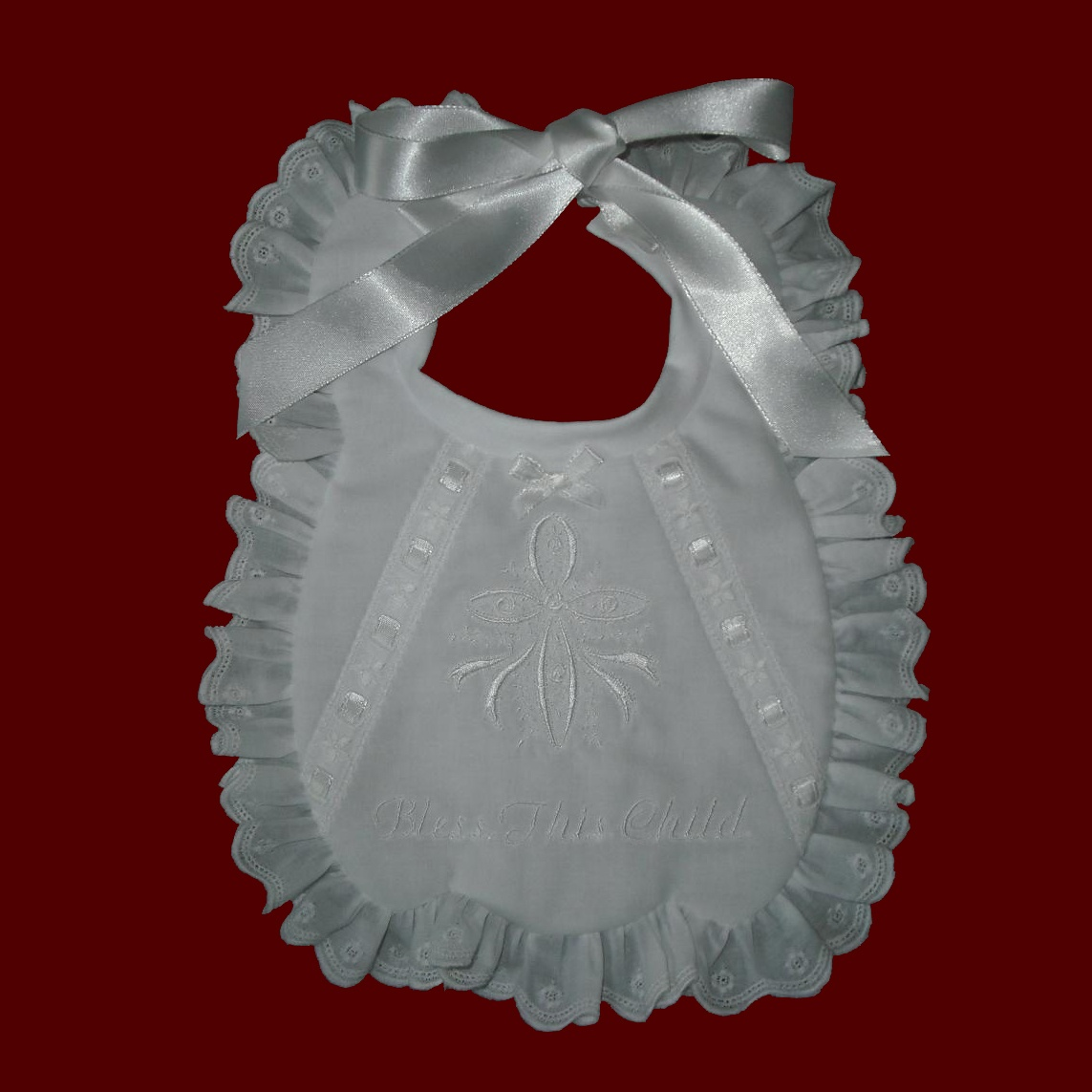 Made in USA Girls Ruffled Christening Bib