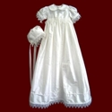 Click to Enlarge Picture - Girls Silk Christening Gown with Venice Lace, Personalized Slip & Bonnet