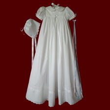 Click to Enlarge Picture - 100% Cotton Batiste Unisex Christening Gown with Embroidered Crosses