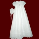 Click to Enlarge Picture - 100% Cotton Batiste Christening Gown with Embroidered Crosses