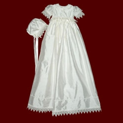 Click to Enlarge Picture - Girls Silk Christening Ensemble with Venice Lace and Detachable Gown