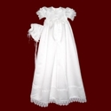 Click to Enlarge Picture - Girls Satin Christening Gown with Venice Lace and Bonnet