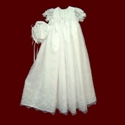 Click to Enlarge Picture - Embroidered Organza Christening Gown and Hat