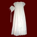 Click to Enlarge Picture - Cotton Batiste Christening Gown with Embroidered Cross Design