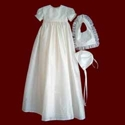 Click to Enlarge Picture - Christening Gown with Detachable Boy and Girl Bibs & Bonnet